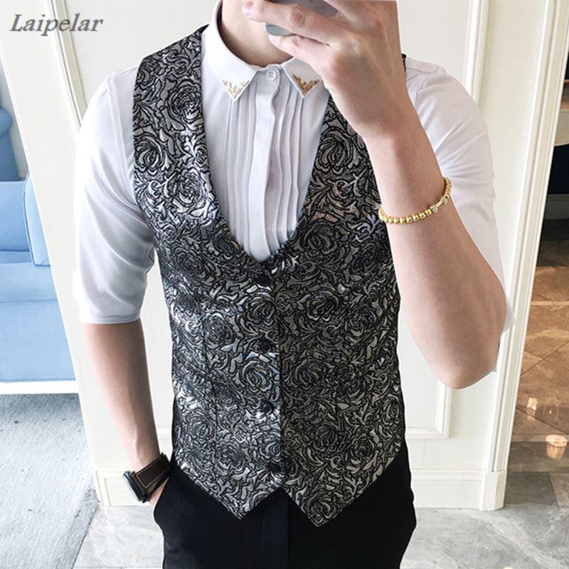 100% QualitäT 2018 Mode Neue Männer Casual Boutique Business Weste/herren Silber Drucken Night Club Weste Laipelar