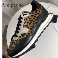 2019 Leopard Horsehair Sneakers Woman Round Toe Rhinestone Patchwork Lace up Flat Platform Shoes Women Fashion Casual Shoes
