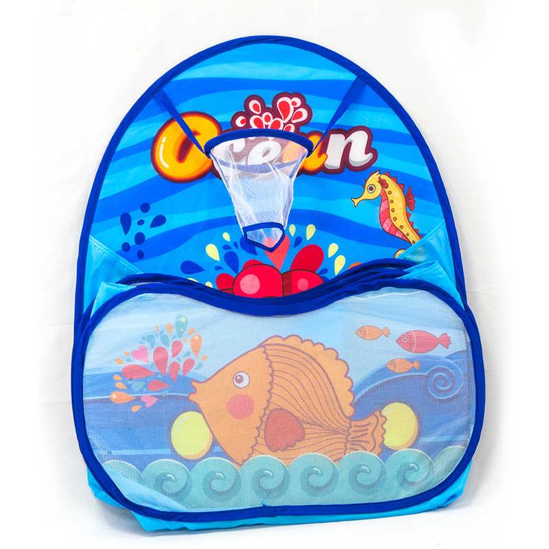 100 Pcs Bola Kartun Laut Lipat Segi Enam Anak-anak Bermain Kolam Renang Tenda Portable Anak Boks Bola Kolam Renang Luar Ruangan Mainan Tenda 985-Q47