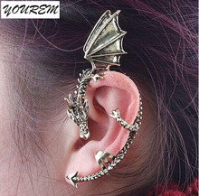 Nickel free one piece retro dragon earrings women earring jackets jewelry alloy girls party club hot gift fj252 YOUREM