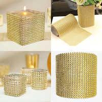 1 yarda 8/24 filas oro plata cristal diamante malla strass cinta para boda fiesta regalo jarrón decoración Floral productos Decoración
