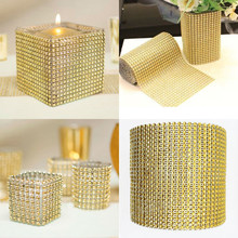 1Yard 8/24 Rijen Goud Zilver Crystal Diamond Mesh Rhinestone Lint voor Wedding Party Gift Vaas Bloemen Decoratie Producten Decor(China)
