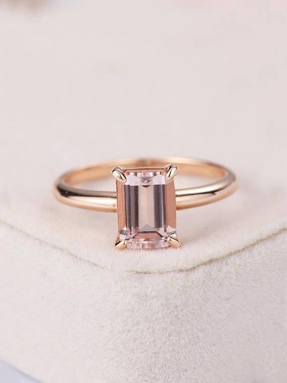 MYRAY Natural Emerald Cut Pink Morganite Engagement Ring 14k Rose Gold Solitaire Wedding Bridal Set Women Anniversary Gift White