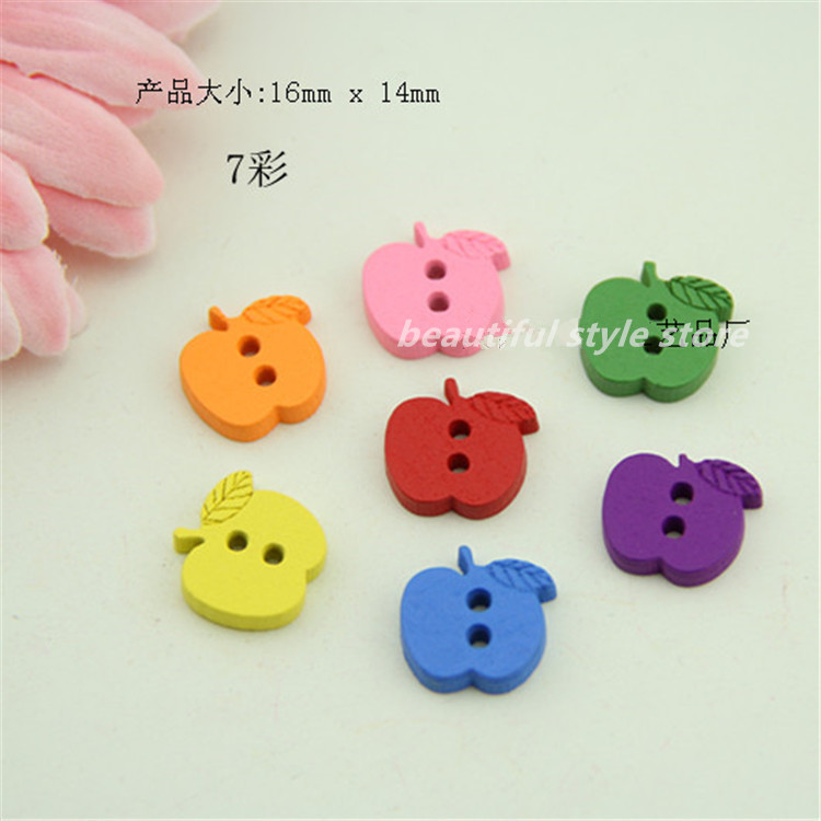 Ambitious Childrens Buckle Clasp Monopoly Cute Novelty Apple Wooden Buttons Sewing Craft Scrapbooking Fashion Accessories 16mmx14mm Home & Garden