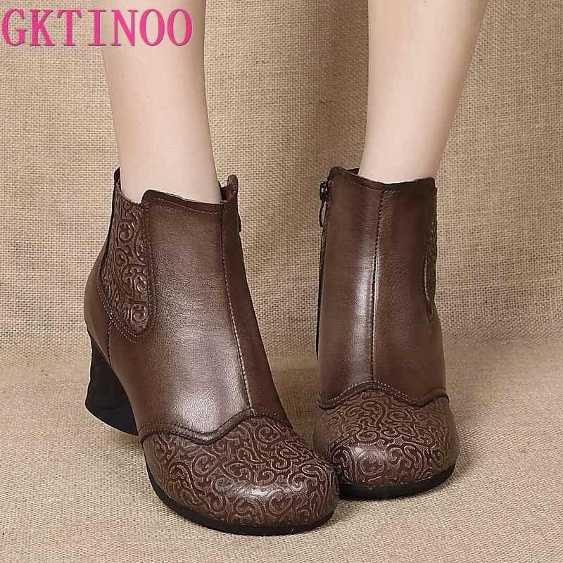 GKTINOO yeni sonbahar kış Vintage kabartmalı hakiki deri kadın ayakkabı kadın fermuar yüksek topuklu yarım çizmeler kadınlar için patik