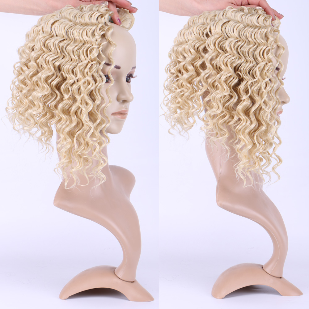 Delice 3 Bundles Blonde Deep Wave Hair Weaving High Temperature Fiber Synthetic Hair Weft Extensions For Women 210g/pack 16-20