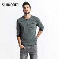 SIMWOOD Long Sleeve T Shirt Men 2018 Spring New Vintage Pocket Slim Fit 100 Pure Cotton