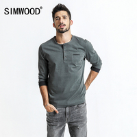 SIMWOOD Long Sleeve T Shirt Men 2018 Spring New Vintage Pocket Slim Fit 100 Pure Cotton