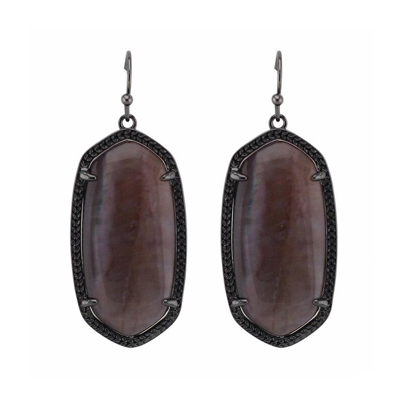 Trendy KS Elle Semi-precious Stone Black Statement Dangle Earrings Modern Jewelry for Women Wholesale Gift портупея 3 в 1 elle black