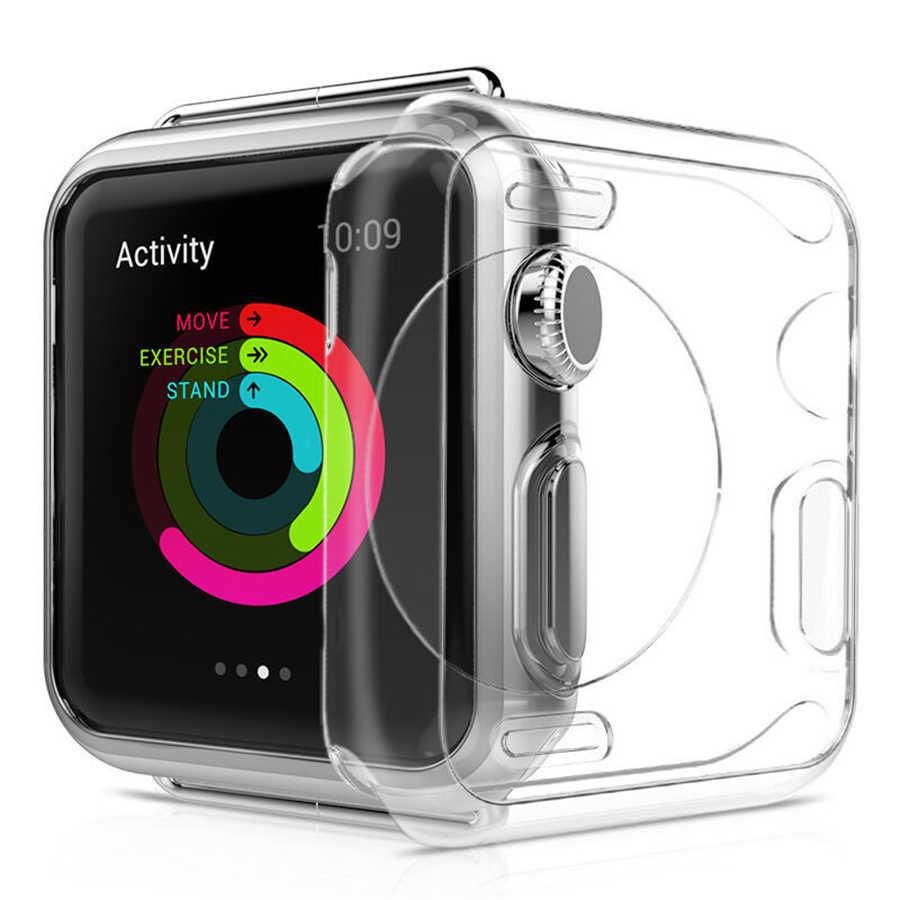 100 шт DHL для Apple Watch 40 44 42 38 мм серии 4 3 2 1 Экран протектор ТПУ часы чехол силиконовый чехол защитный прозрачный