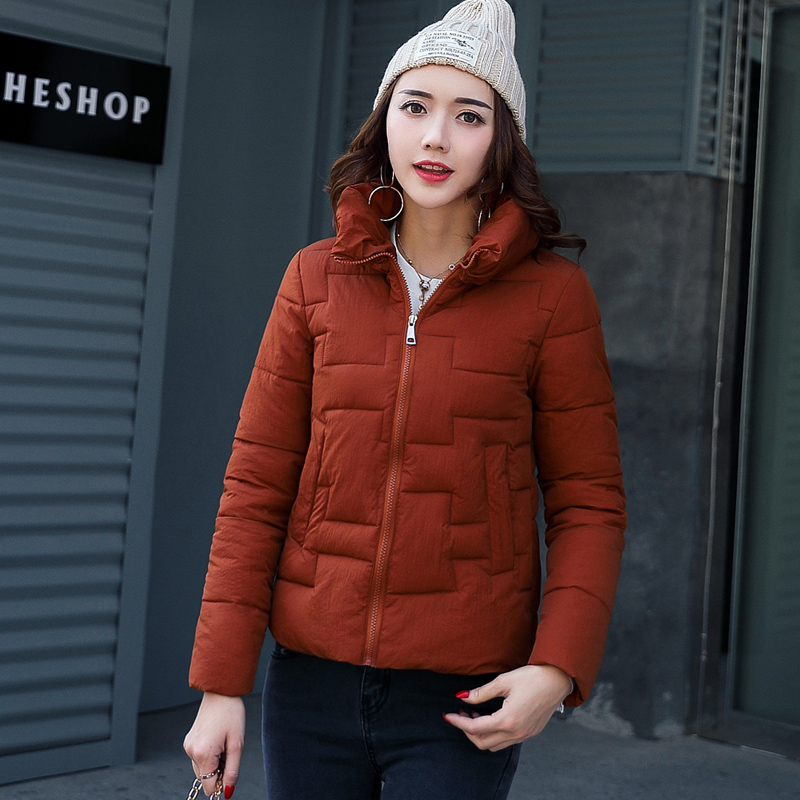 New Wadded Winter Jacket Women Cotton Short Jacket Fashion Female Jackets Padded Slim Parkas Stand Collar Matte surface Coat