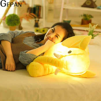 55cm Big Colorful Glowing elephant Luminous Plush Toys Kawaii Light Up Led elephant Stuffed Toys Doll Kids Christmas Gift