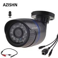 AZISHN HD 720 마력 960 마력 1080 마력 IP 카메라 오디오 입력 외부 픽업 마이크 보안 야외 카메라 IP 오디오 ONVIF P2P IP