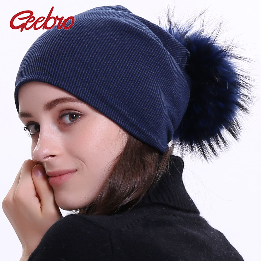 Geebro Women's Winter Beanie Knitted Ribbed Beanies Hat with Pompom Cap Solid Color Slouch Hats Skullies chapeu feminino DQ423M