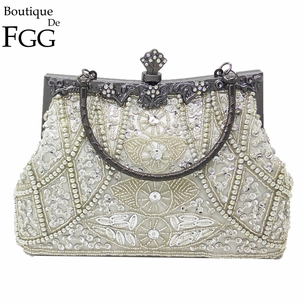 Boutique De FGG Vintage Gunmetal Chinese Style Women Silver Beaded Purse Metal Frame Evening Wedding Party Handbag Clutch Bag
