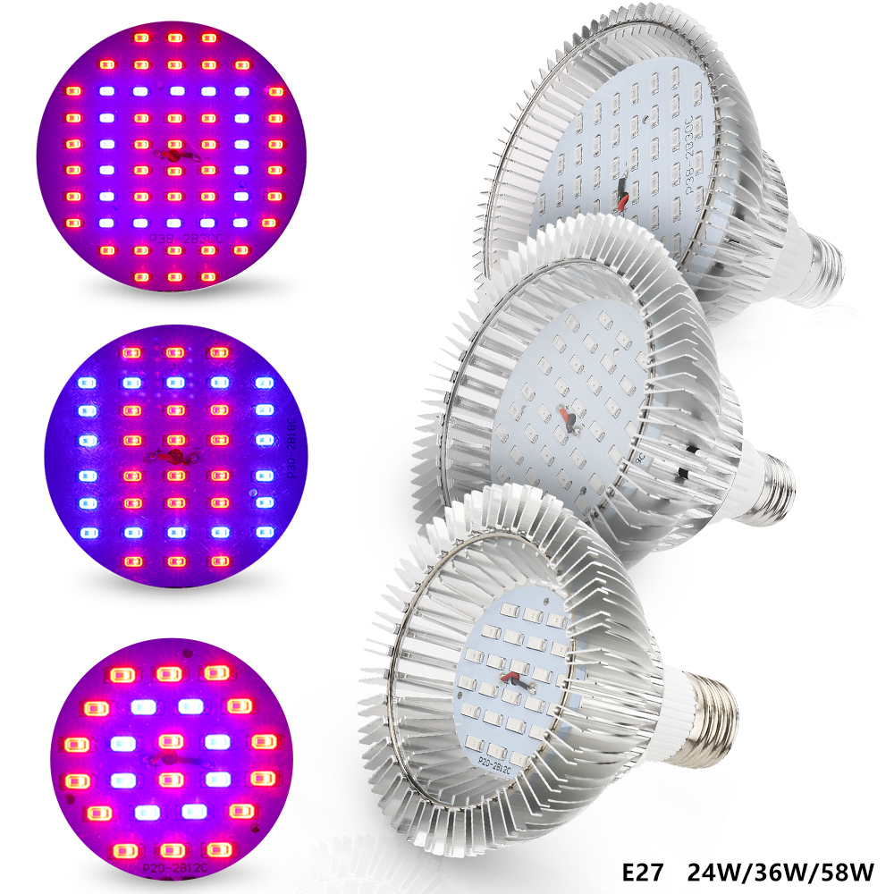 24W 36W 58W E27 Phytolamp LED Grow Light Bulb For Plants SMD5730 24/36/58LEDs Plant Growth Lamp For Flowers Seeds Grow Box