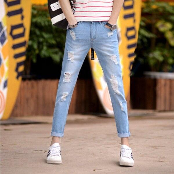 2016 New Spring European Plus Size Ripped fashion Hole Slim Boys men Pencil jeans Casual men's trousers Male Ankle-Length pants