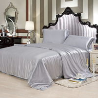 Silk Bedding Sets 4pcs 19MM Seamless Duvet Cover Flat Sheet Pillowcase 100% Mulberry Silk Dyed Fabric Multicolor ls030019007