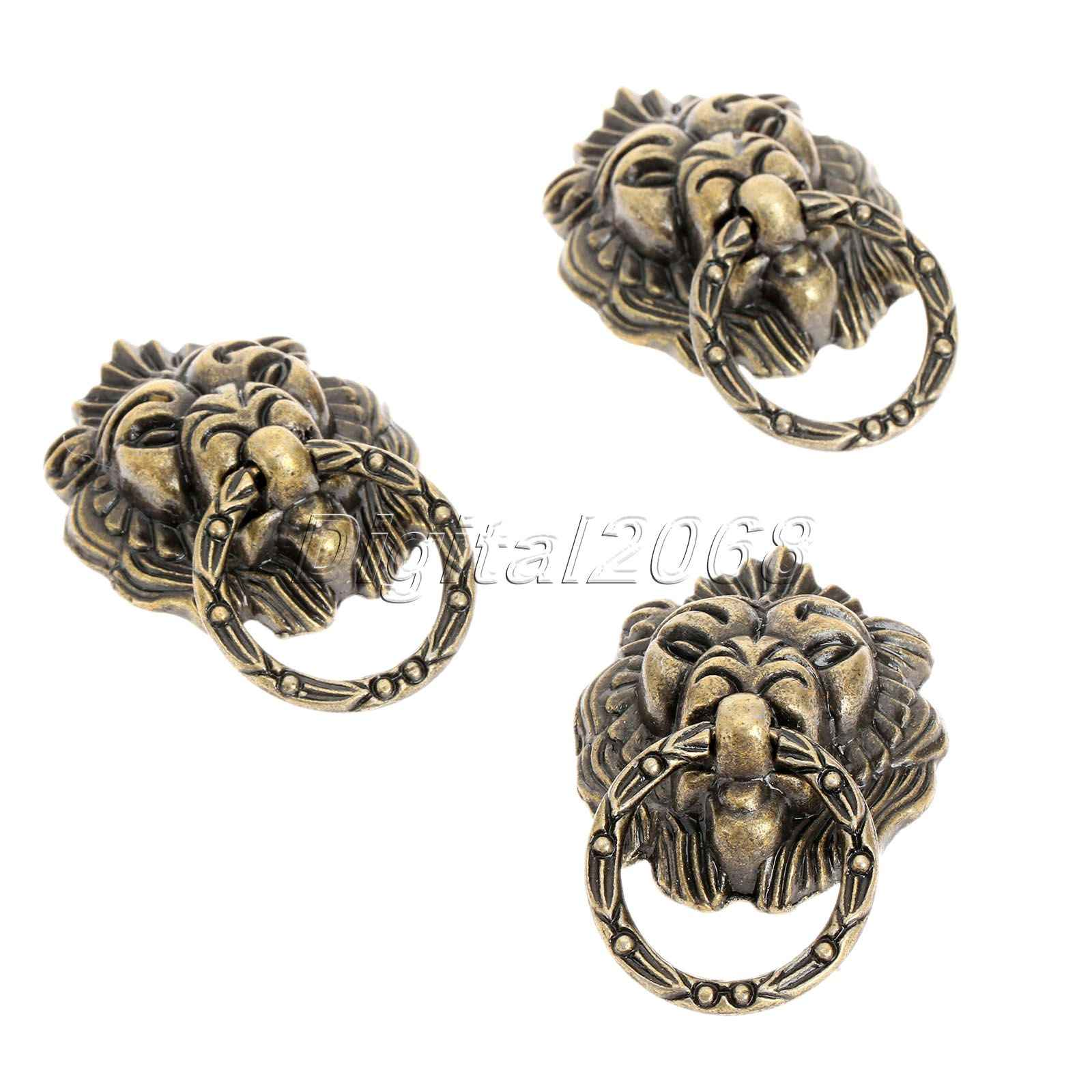 Bowarepro 6pcs Antique Bronze Lion Head Cabinet Handles Drawer