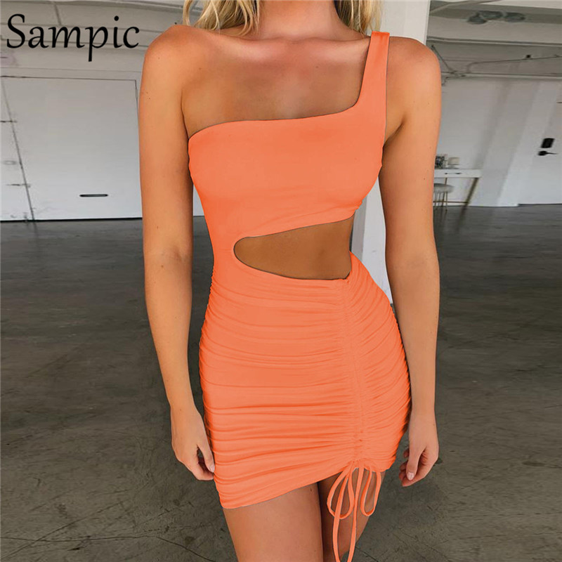 Sampic Sexy Party Club Bodycon Dress Women One Shoulder Backless Bandage Summer Mini Dress White Neon Pink Hollow Out Dresses