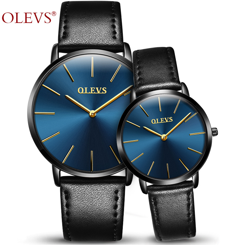 OLEVS Lovers Watches For Men Womens Faux Leather Strap Quartz Watch Men's Sports Clock Women's Dress Wrist Watch Couple Gift Box stylish mid waist cuffed denim ripped shorts for women