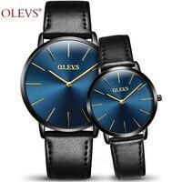 OLEVS Lovers Watches For Men Womens Faux Leather Strap Quartz Watch Men's Sports Clock Women's Dress Wrist Watch Couple Gift Box