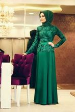 Turkish Women Clothing Top Lace A-Line Green Red Chiffon Long Sleeve Formal Dresses 2016 Floor Length Long Hijab Evening Dresses