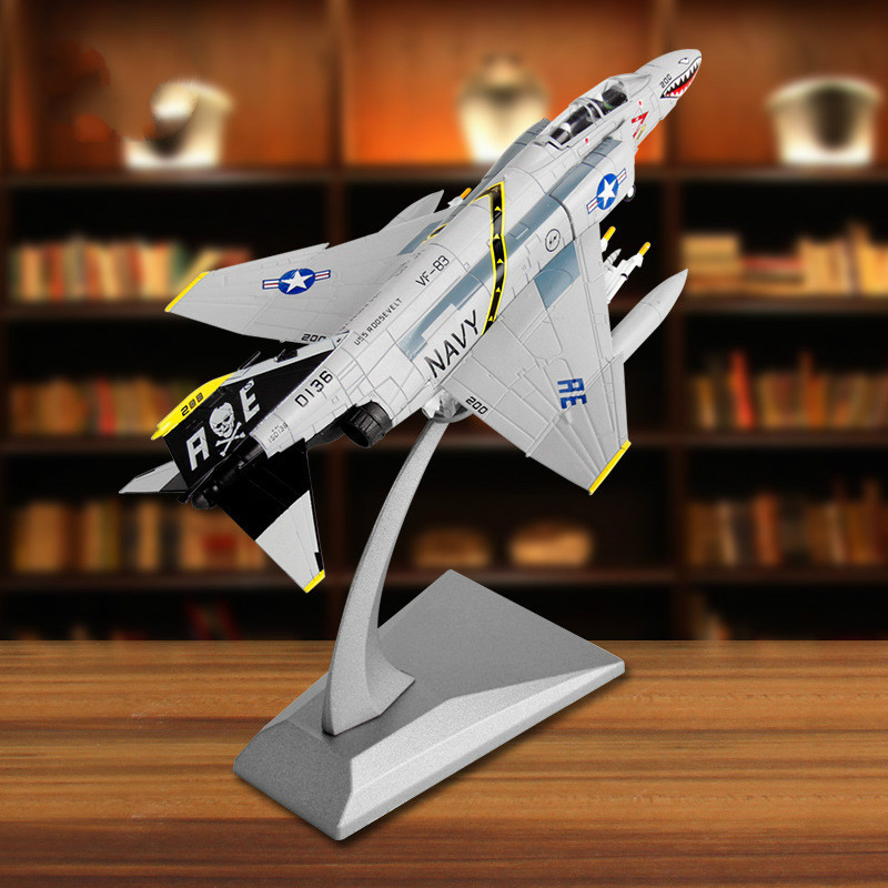 17.7*12*14cm American F-4C Ghost Attack Machine Diecast F4 Alloy Fighter Model Navy Simulation Aircraft Model Decoration 1:100