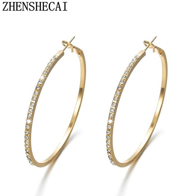 bca7f1d5a4f5 Partido caliente moda pendientes redondos grandes del aro círculo perforado  Simple elegante plata oro 2