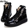 Men Tiger Punk Boots High-top Solid Color Men's Hip-hop Shoes White Lace up Patent Leather Boots Black