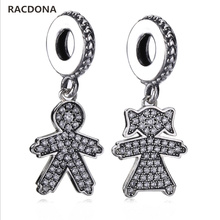 Фотография 2017 New Style 925 Sterling Silver Zircon Paving Boys Girls Charm Fit Original Pandora Charm Bracelet European Brand Jewelry