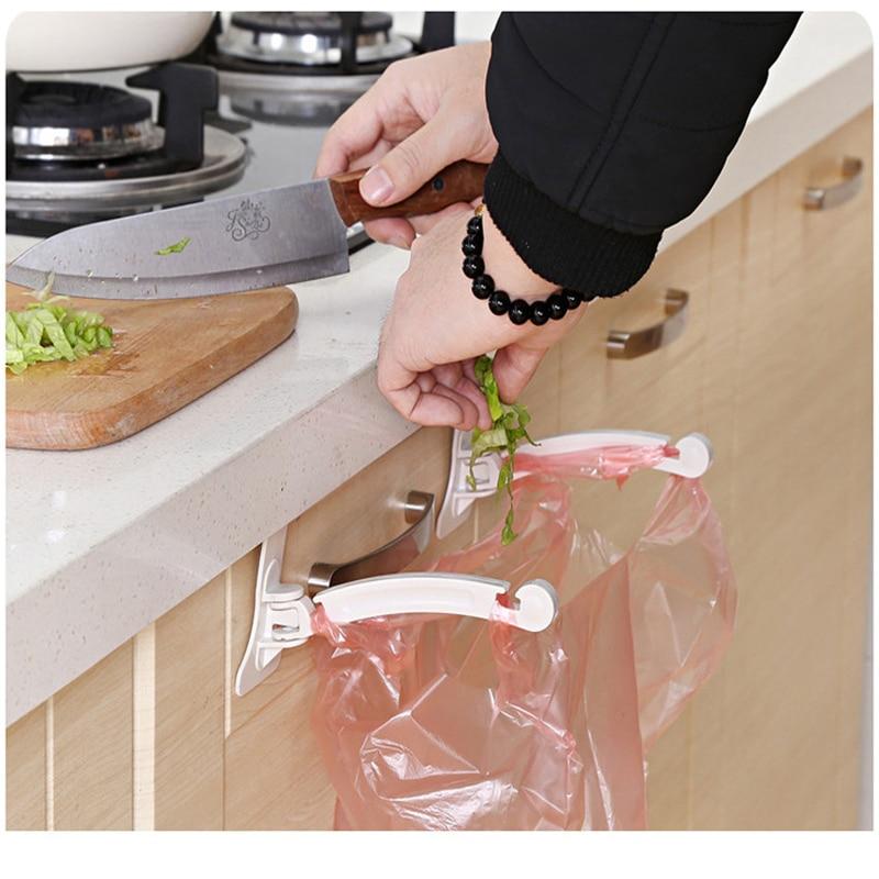 New Hot 1Pair Kitchen Door Cabinet Hook Rack Trash Bags Storage Garbage Handbag Rack New