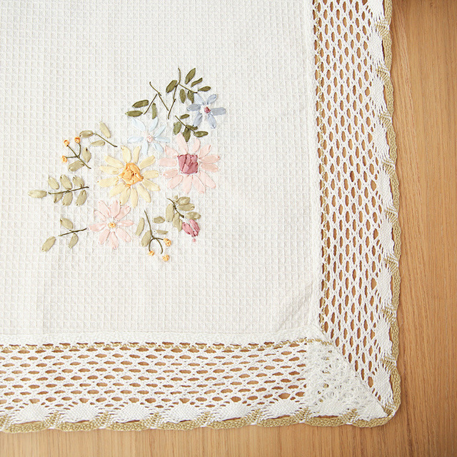 Rectangle White and Floral Tablecloth