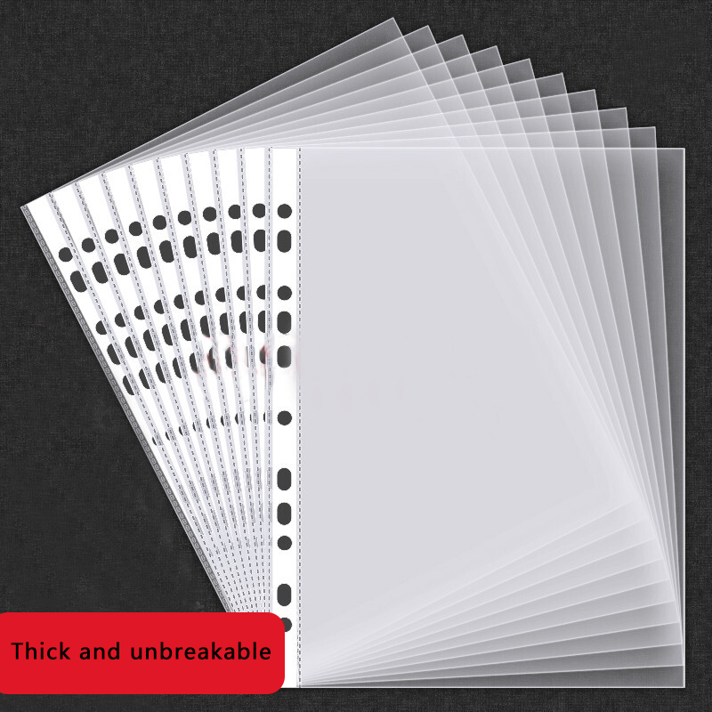 100Pcs A4 Clear Plastic Punched Pockets Folders Filing Thin 11Holes Loose Leaf Documents Sheet Protectors