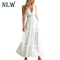 NLW Deep V Neck Lace Sexy Women Maxi Dress Backless Hollow High Waist Lady Paty Club