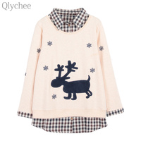 Qlychee Autumn Women Fake Two Piece Pullover Snowflake Deer Patchwork Plaid Sweatshirt Fleece Casual Loose Tracksuit