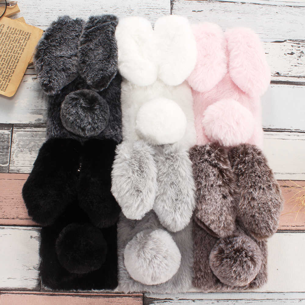 Rabbit Fur Case For Huawei Y7 Pro 6 Prime Y5 2018 Y9 2019 Y3 2017 Y5 Lite Y6 ii Compact Mate 20 Lite 10 Pro 9 8 7 Mini 20X Cover