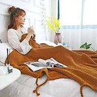 130x170cm Knitted Blanket With Tassel 100 Color Cotton Yarn Adult Throw Blanket For Office Sofa Home