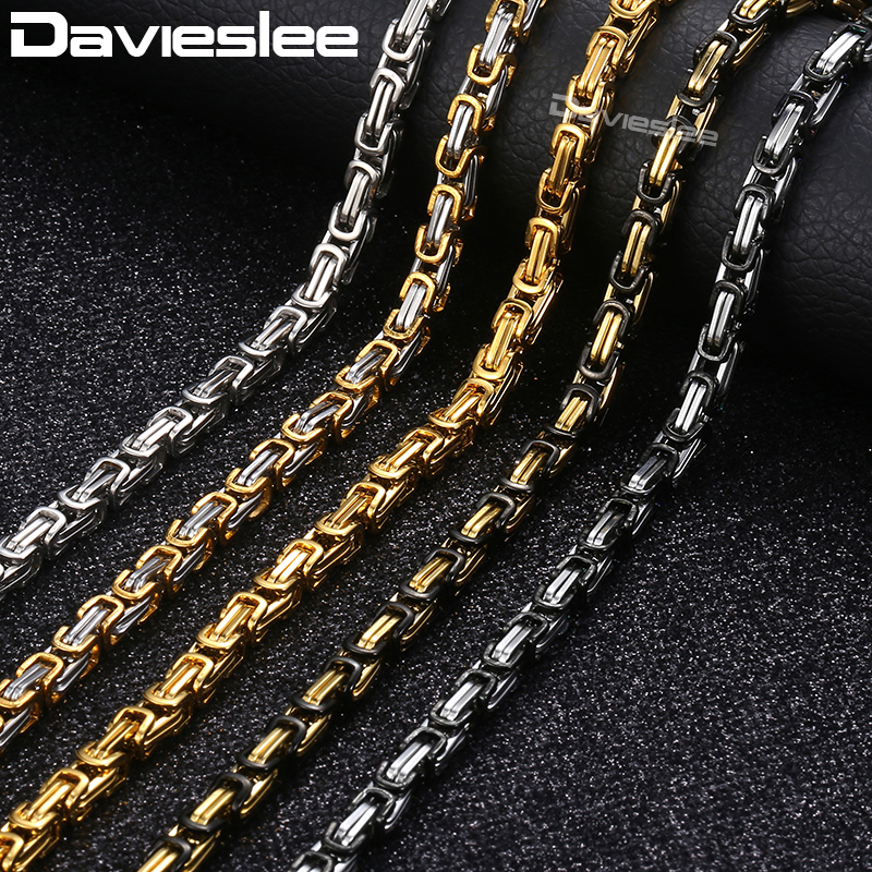 Byzantine Box Chains Necklace for Men Silver Gold Black Customized Mens Necklaces Stainless Steel Jewelry Davieslee 5/8mm LKNM16Byzantine Box Chains Necklace for Men Silver Gold Black Customized Mens Necklaces Stainless Steel Jewelry Davieslee 5/8mm LKNM16