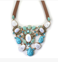 Fashion Jewelry High Quality Natural Imitation Shell Leather Cord Statement Necklace