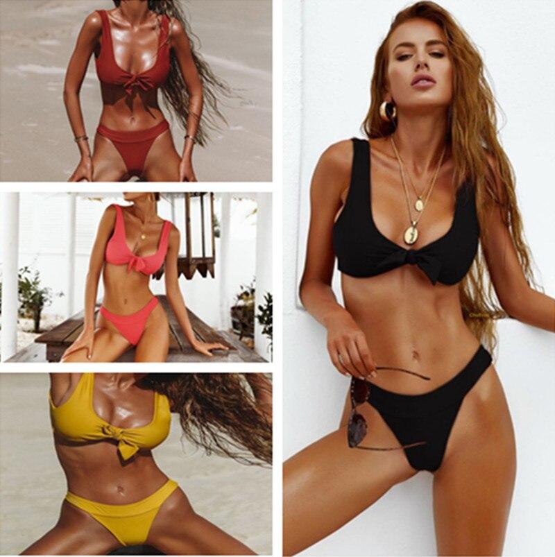 New 4 colour bikini set High waist biquinis 2018 summer beach swimwear Hot solid bathingsuit high quality women sexy swimsuit