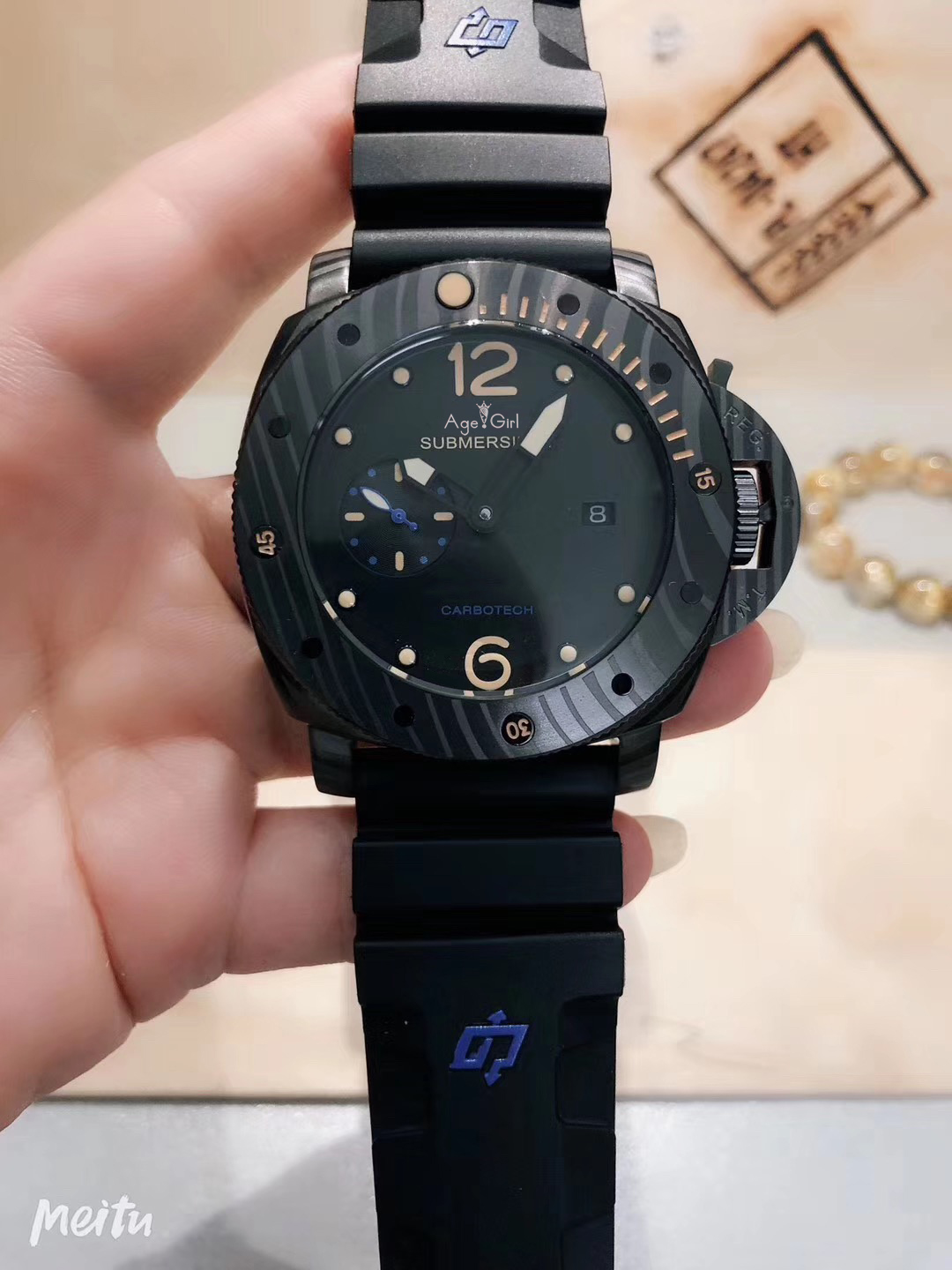 Brand New Men Automatic Mechanical Sapphire Stainless Steel Carbotech Black Rubber Leather Watch Luminous Blue Carbon Bezel AAA+