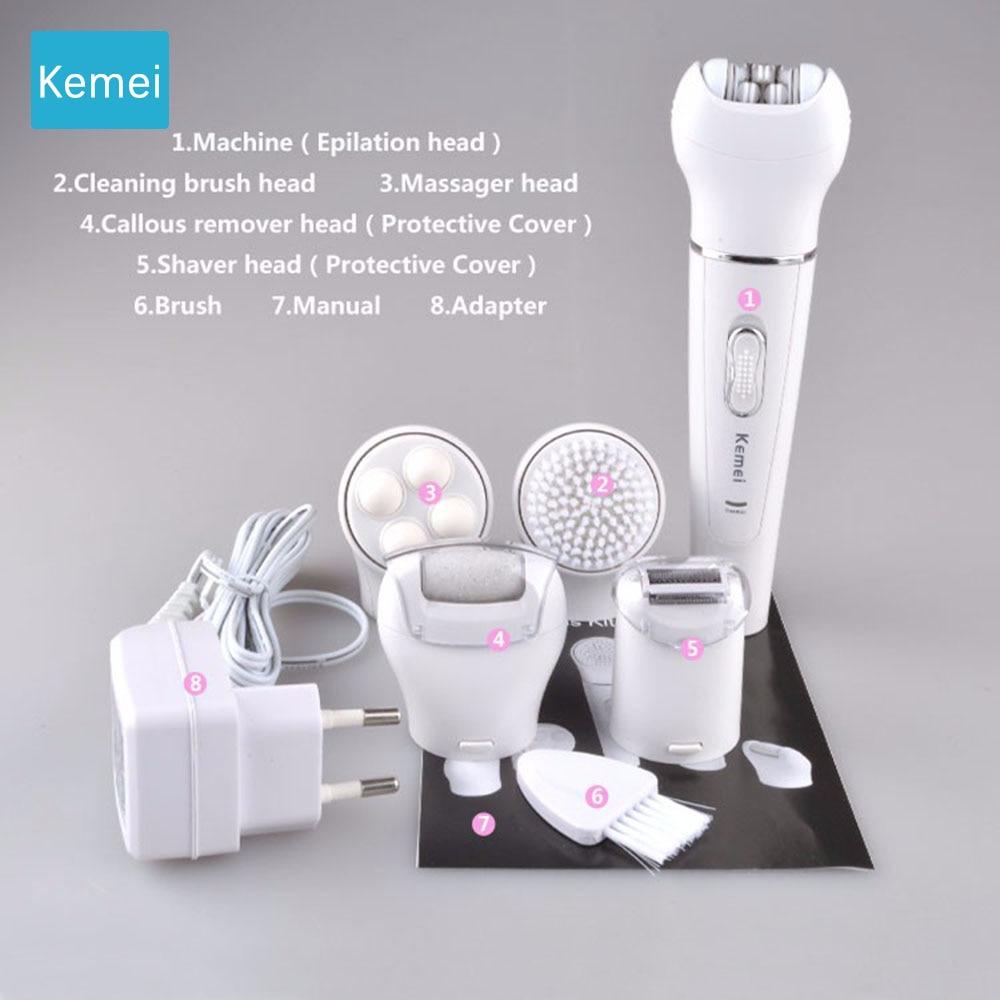 Эпилятор 5в1 электробритва для женщин, эпилятор, перезаряжаемый триммер для удаления волос, эпилятор для лица, бикини, тела, ног, подмышек 5 - Цвет: KM-2199