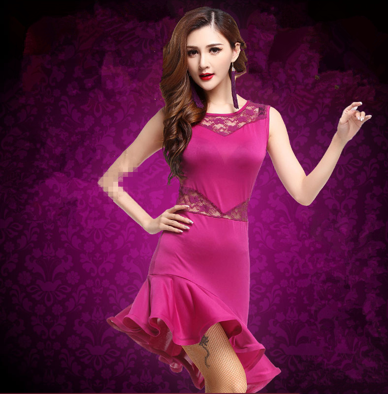 Show details for 2018 Lace Adult Latin Dance Costume Ballroom Dancing Dresses Girls Jazz Dance Costumes Tango Costume Samba Woman Latin Dress
