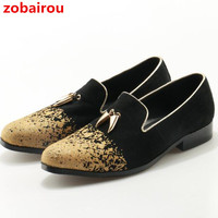 Zobairou New Men Shoes Luxury Brand Mens Formal Shoes Genuine Leather Italian Flats Loafers Wedding Dress