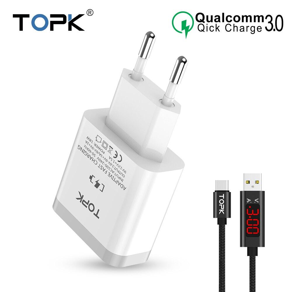 TOPK cargador de teléfono móvil 18 W de carga rápida 3,0 cargador rápido USB enchufe de la UE de pared adaptador de viaje para Samsung Galaxy s9/S8 Xiaomi LG