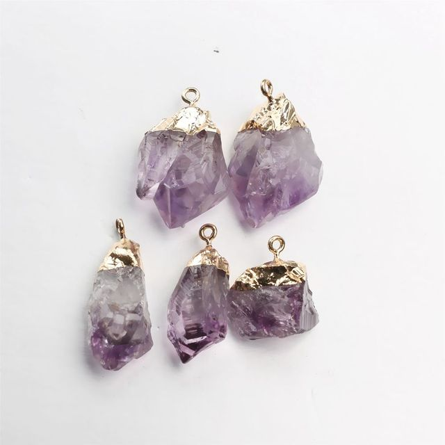 1PC Purple Natural Amethyst Gemstone Pendant Quartz Crystal Point Healing Stone Long Chain Necklace Amethyst Pendant Home Decor 2