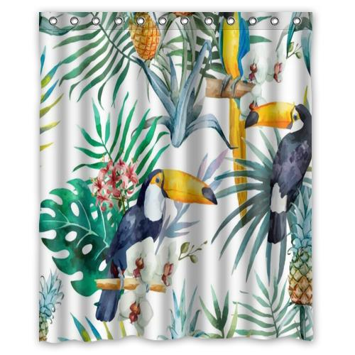 woodpecker pineapple jungle custom shower curtain bathroom decor fashion design various sizes free