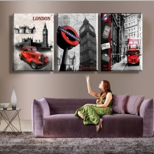 HOME DECOR High Precision Print Canvas ART PRINT Set of 3 London street red bus Stretched CANVA PRINT Ready to Hang футболка print bar street art