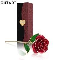 24 k人工花ロングステム黄金箔トリムレッドローズフラワー最高の贈り物バレンタインの日記念日誕生日クリスマス